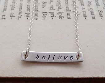 Handmade recycled fine silver stamped bar necklace
