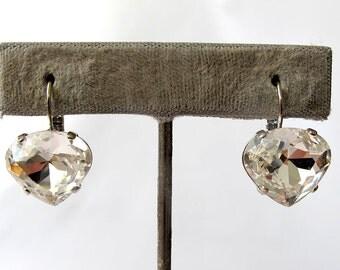 Swarovski crystal stone silver earrings, Drop earrings