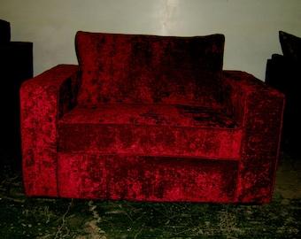 Kube  Cuddle Chair In Red Wine Velvet