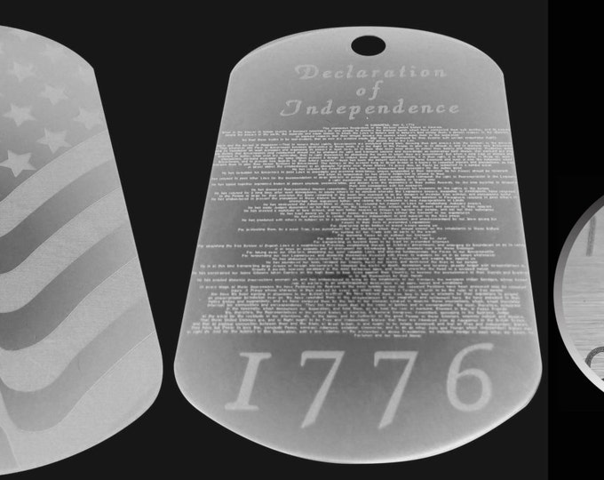 """Etched Declaration of Independence 008"""" High Text, Military Deployment"""