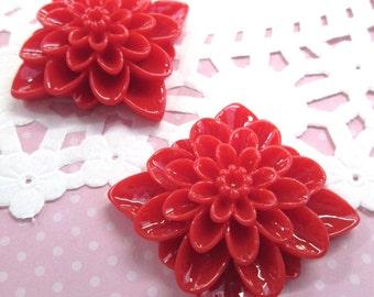 2pc Large Red Chrysanthemum Cabochon Mums 34mm