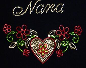 NANA Is Special, Heart, Flowers, Love - Iron On Rhinestone Transfer - DIY