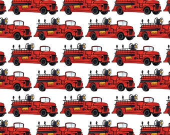 "Fire Fighter Truck Repeat - 6.5"" Fabric Quilt Block - Firemen Rescue Department ""Style 3"""