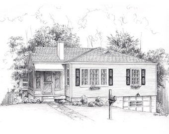 """Pencil sketch House drawing from your photo 8"""" x 10"""" drawing"""