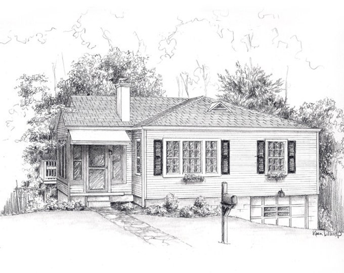 "Pencil sketch House drawing from your photo 8"" x 10"" drawing"