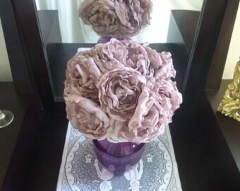 Fabric Flower Bouquet, Bridesmaid Bouquet, Peony Flower Bouquet, Fabric Wedding Bouquet, Purple Fabric Bouquet, Lilac Bouquet, Peony Bouquet
