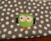 Lime Green Owl with Gray and White Polka Dots (1 Chair Pocket - You Pick the Wording)