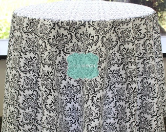 Tablecloth - Premier Prints - MADISON Damask - Black White - Choose Your Size - Table Linen Wedding Home Decor Dining Kitchen