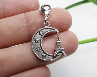 Own Charm ,   22×19mm moon and satr and tower charms antique silver tone pendant