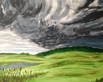 Summer Storm Original Landscape Acrylic Painting