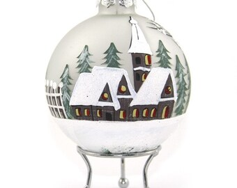 Frosted Handpainted Glass Christmas Village Bauble