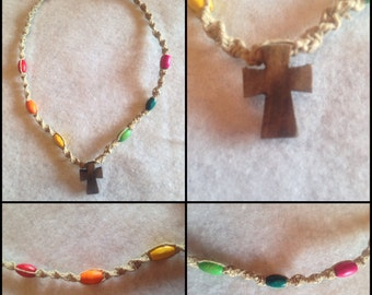 Hand-Knotted Rainbow Hemp Cross Necklace