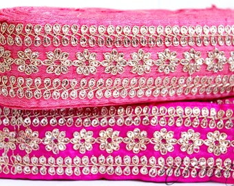 Floral trim Pink Gold Weaved Traditional Sari Border Trim Indian Craft Ribbon Sewing AN0179
