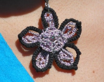 Lilac and Black Tatted Flower Pendant with Crystal