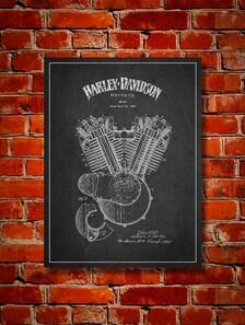 1919 Harley Davidson Engine Patent Canvas Print Wall Art