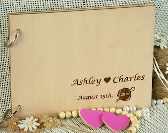 Custom Unique Wedding Anniversary Bridal shower guest book, Gift, Personalized gift for couple, Memory album, Laser engraved, Rustic wedding
