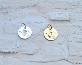 ADD DISC charm 0.4 inches (10mm) disc, Hammered Initial Disc Charm, Gold or
