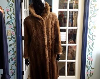 FREE SHIPPING!!! R M TAYLOR  furs vintage 1970s mouton full length plus size fur coat for women