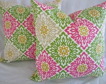 18x18 Pink, green, and cream decorative pillow set, throw pillows, bedroom accessories, artisan pillows, floral