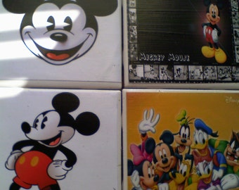 "1 Set of Four Disney's Mickey Mouse Ceramic Tile Coasters With Cork Backs 4 1/4"" X 4 1/4"""