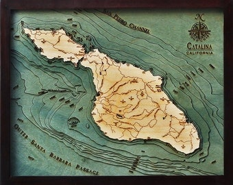 Wood Chart of Catalina Island, California  16x20