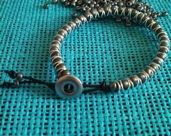 gunmetal gray caterpillar bracelet