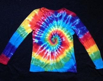 Tie Dye Rainbow Spiral Long Sleeve Shirt