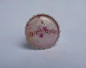 Adjustable ring cabochon 25mm kawaii vintage