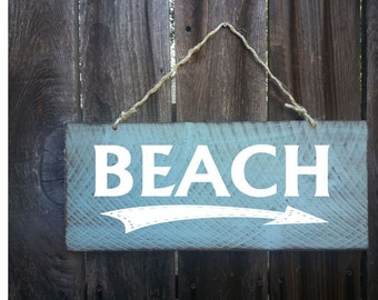 Beach Sign, Beach Directional Sign, Beach Decor, Beach Sign, Surf Decor, beach cottage, directional sign, arrow sign, beach arrow sign