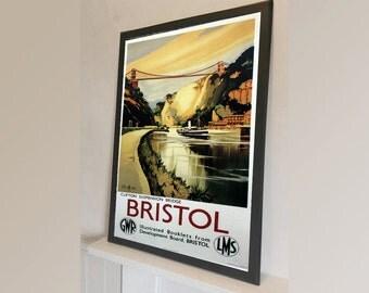 Bristol Travel Clifton Suspension Bridge British - Vintage Reproduction Wall Art Decro Decor Poster Print Any size