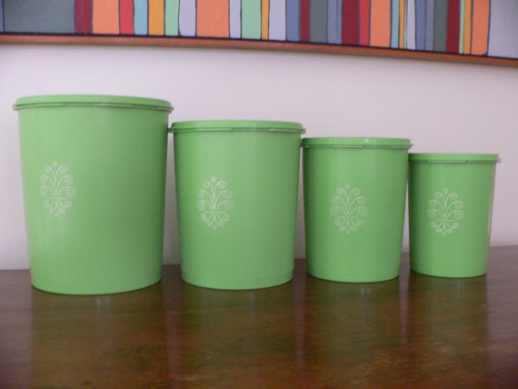 Tupperware Canisters  Set of 4  Lime  Apple Green  Kitchen Storage