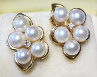 Vintage 14k Gold Cultured Pearl Diamond Earrings Vintage Pearl Earrings Cultured Pearl Earrings Bridal Earrings 14k Yellow Gold Pearl Bride