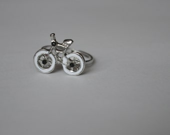 Bicycle Silver Adjustable Ring