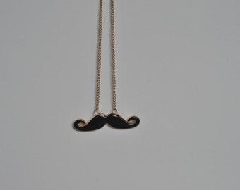 Moustache Black Pendant Necklace
