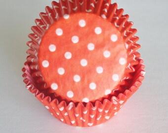 Orange & White Polka Dot Cupcake Papers