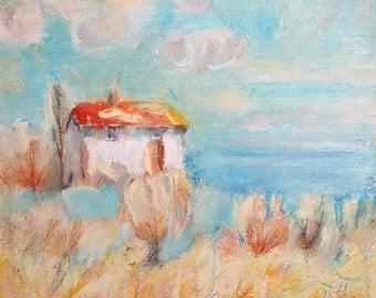 European art oil painting landscape 1960's signed