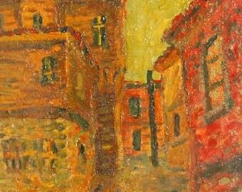 European art oil painting cityscape post impressionism