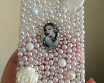 Marilyn Monroe Iphone 4/4s Decoden White Pearls Crystals Handmade