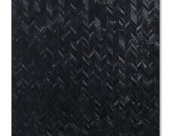 bunkar 100 real leather handmade cowhide rug style black chevron