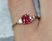 Cushion Cut Ruby Engagement Ring in 10k Yellow Gold 3 Stone Diamond Ruby Ring July Birthstone Gemstone Ring, Size 6.5 (Resizable)