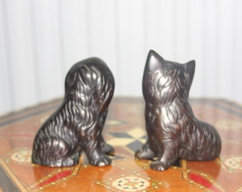 Vintage Pair of Bronze Dogs
