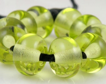 073 Transparent Green Apple Made to Order SRA Lampwork Handmade Artisan Glass Spacer Beads Set of 10 5x9mm