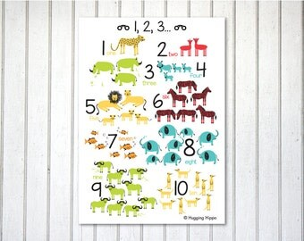 1,2,3... African Animals Numbers Print -1,2,3...  English, Afrikaans & German versions - A3 size