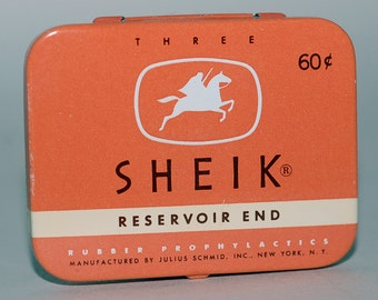 Genuine Vintage 1950s Sheik Condom Tin Old Store Stock. Tin is in great condition, contents, not so much. Free Shipping!