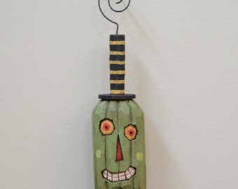 Mr Green, Primitive Folk Art Halloween Ornament