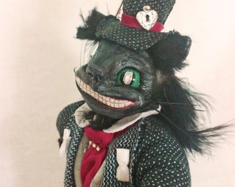 Cheshire Cat Alice in Wonderland OOAK Collectible Fairy-tale Character Art Doll.