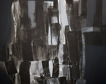 Black Painting White Painting Abstract Painting Modern Original