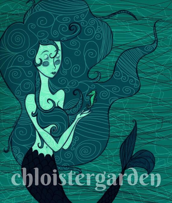 Nautical, Whimsical Mermaid Art Print, 8X10
