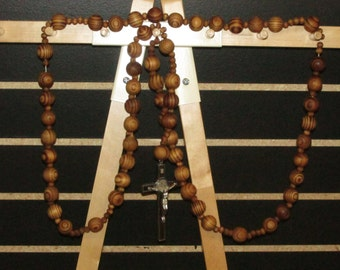 "brown giant beads rosary San Benito metal JESUS cross large 41"" wall rosary"