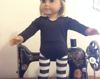 Black and white stripe tights - fit American Girl Dolls
